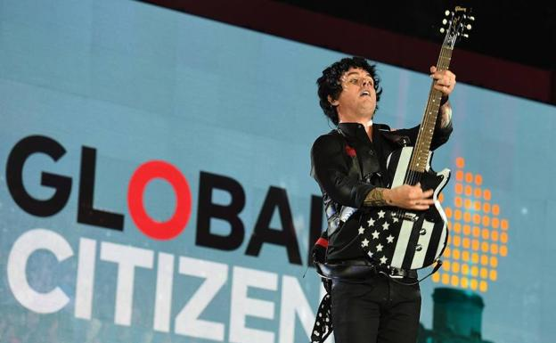 Billie Joe Armstrong, cantante de Green Day, durante el Global Citizen./AFP