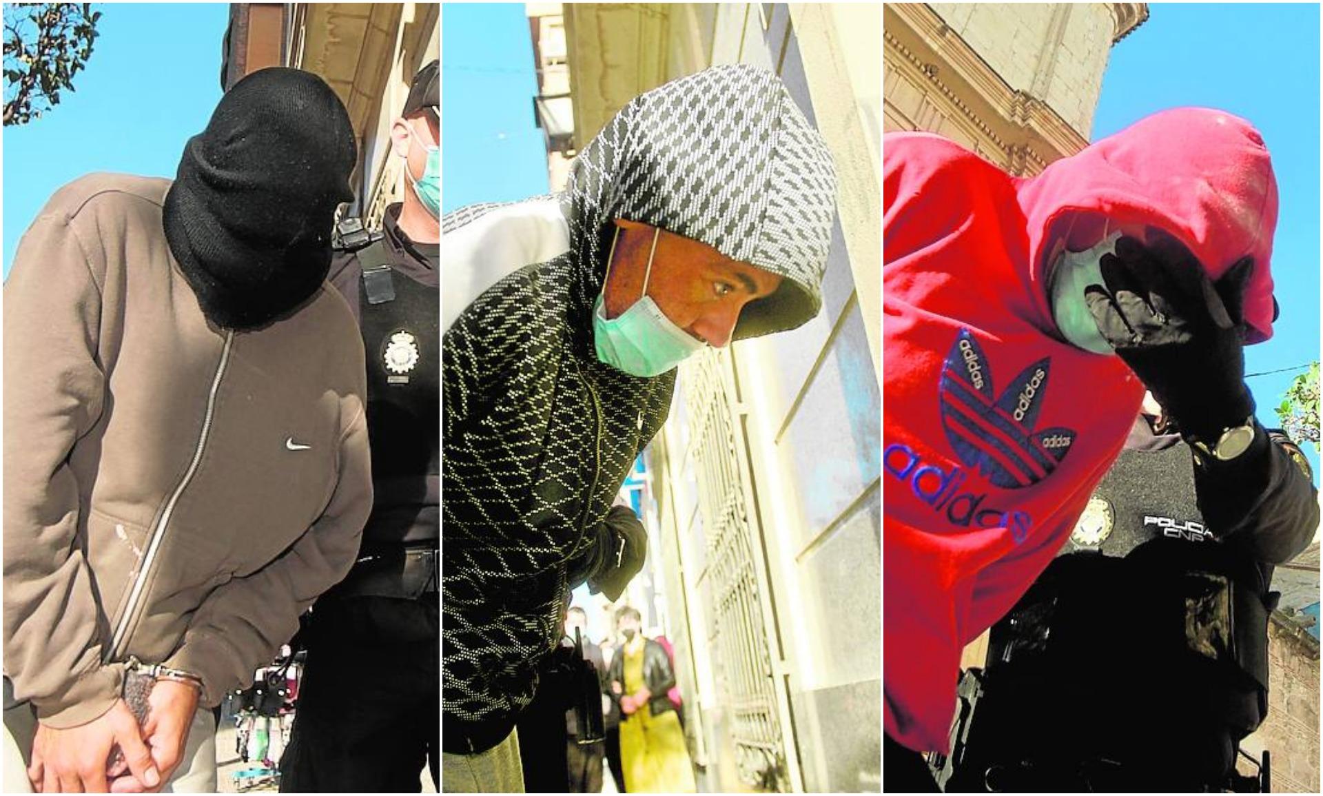 Los tres presuntos implicados en el asesinato de El Rosao, ayer, al ser puestos a disposición del juez de Yecla.