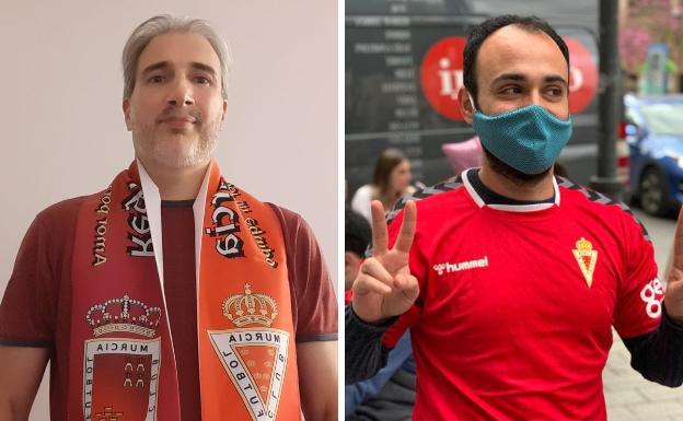 El portugues Nuno Ratola posa con una bufanda del Real Murcia. El ialiano Pantaleone Nespoli, con la camiseta del Real Murcia.