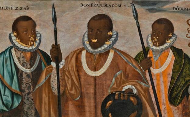 Detalle de 'Los tres mulatos de Esmeraldas', pintado por Andrés Sánchez Galque hacia 1599 y pieza destacada de la exposición 'Tornaviaje'. /Museo del Prado